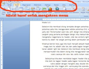 Trik Menampikan Key Menu Word